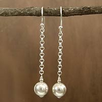 Sterling silver dangle earrings, 'Delhi Moon'