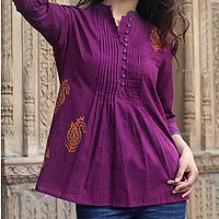 Cotton blouse, 'Wine Delight'