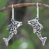 Sterling silver dangle earrings, 'Dolphin Song'