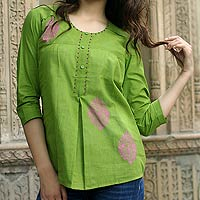 Cotton blouse, 'Gujrati Green'