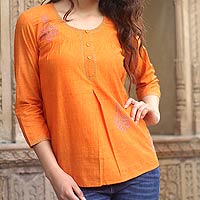 Cotton blouse, 'Rajasthan Sun'
