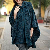 Alpaca blend ruana cloak, 'Peruvian Wildflower in Blue'
