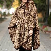 Alpaca blend ruana cloak, 'Nazca Flora'