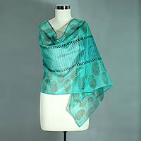 Cotton and silk shawl, 'Story in Turquoise'