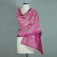 Cotton and silk shawl, 'Festive Diwali'