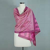 Cotton and silk shawl, 'Festive Durga Puja'