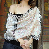 Cotton and silk shawl, 'Myriad Vines'