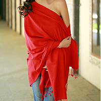 Wool and silk shawl, 'Attraction'