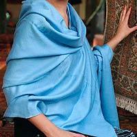 Wool and silk shawl, 'Blue Sky'