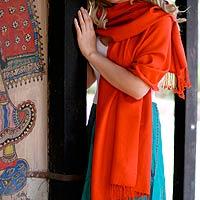 Wool and silk shawl, 'Burning Desire'