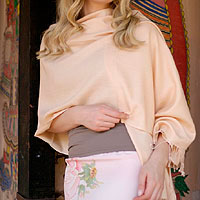 Wool and silk blend shawl, 'Feminine'