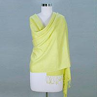 Wool and silk shawl, 'Golden Warm'