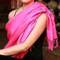Wool and silk shawl, 'Mauve Paradise'
