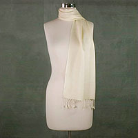 Wool and silk blend scarf, 'Creamy White Glory'