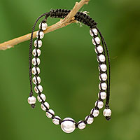 Sterling silver shamballa bracelet, 'Morning Dew'