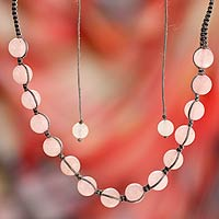 Rose quartz shamballa necklace, 'Oneness'