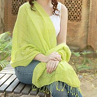 Wool and silk shawl, 'Lemon Green Bliss'