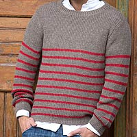 Men's alpaca blend sweater, 'Tan Cuzco Casual'