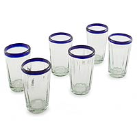Tumblers, 'Cobalt Groove' (set of 6)