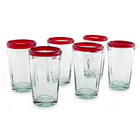 Tumblers, 'Ruby Groove' (set of 6)