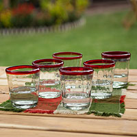 Juice glasses, 'Short Ruby Groove' (set of 6)