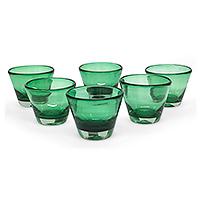 Juice glasses, 'Jade Flair' (set of 6)