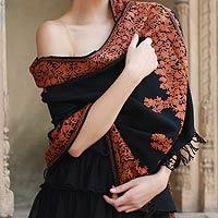 Wool shawl, 'Rust Floral Drama'