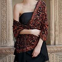 Wool shawl, 'Radiant Paisley'