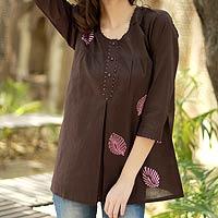 Beaded cotton tunic, 'Coffee Rose'