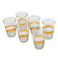 Blown glass tumblers, 'Ribbon of Sunshine' (set of 6)