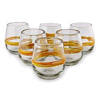 Blown glass drinking glasses, 'Round Ribbon of Sunshine' (set of 6)