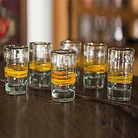 Blown glass shot glasses, 'Ribbon of Sunshine' (set of 6)