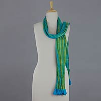 Beaded crinkle silk scarf, 'Mountain Lake'