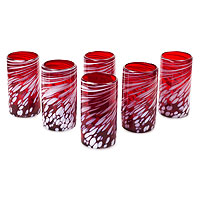 Blown glass tumblers, 'Festive Red' (set of 6)