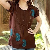 Cotton blouse, 'Chocolate Paisley'
