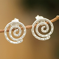 Sterling silver button earrings, 'Andean Cosmos'