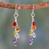Garnet and carnelian cluster earrings, 'Vibrancy'