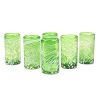 Hand blown drinking glasses, 'Festive Green' (set of 6)