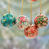 Papier mache ornaments, 'Christmas Joy' (set of 4)