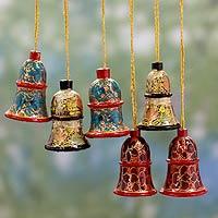 Wood ornaments, 'Celebration' (set of 6)