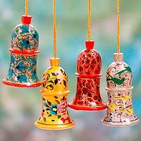 Wood ornaments, 'Melody of Joy' (set of 4)