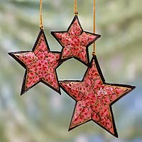Wood ornaments, 'Pink Rose Stars' (set of 3)