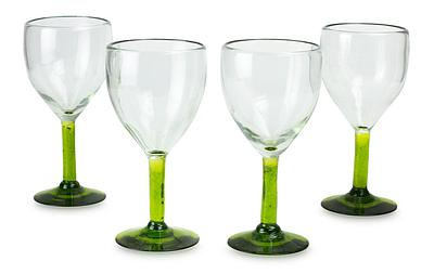 Hand Made Goblets Mexican Blown Glass Art, 'Forest Mirage' (set of 4)