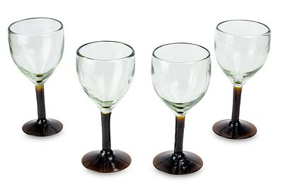 Hand Made Blown Glass Water Glasses, 'Amber Mirage' (set of 4)