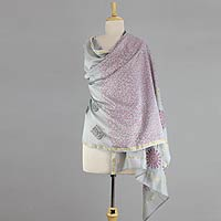 Cotton and silk shawl, 'Fortune's Elegance'