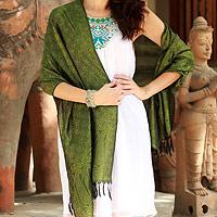 Varanasi silk shawl, 'Iridescent Olive'