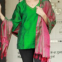 Varanasi silk shawl, 'Emerald Glory'
