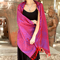 Varanasi silk shawl, 'Fiery Dawn'