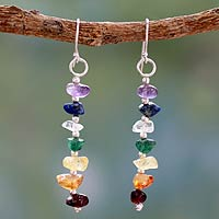 Multi gemstone chakra earrings, 'Rejoice'
