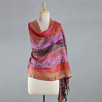 Wool shawl, 'Holi Parade'